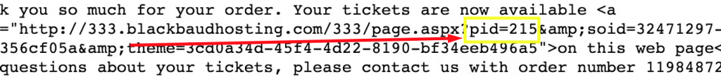 """Find the """"pid"""" inside of the ticket URL to find the Altru Ticket ID."""